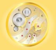 Golden watch inside,. Clock mechanism on yellow or golden background Stock Photo