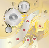 Golden watch inside,. Clock mechanism on yellow or golden background Royalty Free Stock Photos