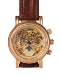 Golden watch mechanism. Macro detail Stock Photos