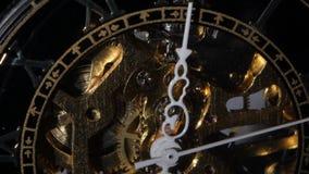 Golden Watch Mechanism. Close up stock video