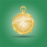 Golden watch. Golden pocket watch in retro design. Vector illustration Stock Photo