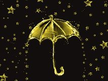 Golden Water Umbrella and Stars Stock Illustration