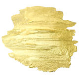 Golden watercolor drop. Abstract gold glittering textured art. W. Atercolour hand paint stroke stain stock photo