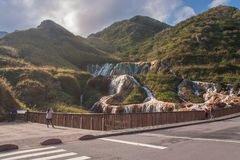 Golden Waterfall is one of the most beautiful waterfall in Taiwan stock image
