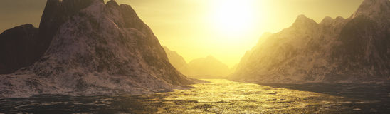 Golden waters and mountains landscape Royalty Free Stock Photography