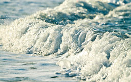 Golden wave. Blue foamy wave rolling over royalty free stock photo