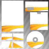 Golden wave border corporate mock-up set Royalty Free Stock Images