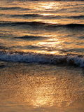 The golden wave Kos Island Greece Europe. Sunset lights illuminate sand and water of the clear sea of Kos Island Greece Europe Stock Photo
