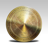 Golden waves coin isolated on white background 3d rendering Stock Images