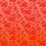 Golden waves on red background. Illustration Stock Photos