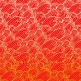 Golden waves on red background. Illustration royalty free illustration