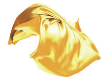 Golden wavy silk satin cloth flying Royalty Free Stock Photo