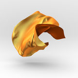Golden wavy silk satin cloth flying. Design element Royalty Free Stock Image