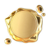 Golden wax seal. Very high resolution 3d rendering of a golden wax seal Royalty Free Stock Photos