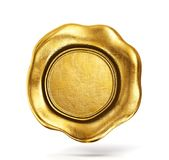 Golden wax seal. Isolated on a white. 3d illusatration Stock Photos