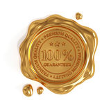 Golden wax seal 100 percent premium quality stamp isolated. 3d render of golden wax seal 100 percent premium quality stamp isolated on white background Stock Photography