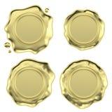 Golden wax seals set Stock Photos