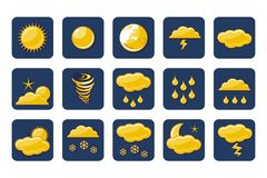 Golden Weather Icons Royalty Free Stock Photography
