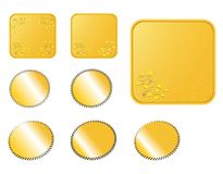 Golden web buttons. Square rounded golden web buttons with a corner decoration Royalty Free Stock Images
