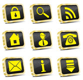 Golden web icon set (gold version). Golden web computer icon set royalty free illustration