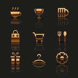 Golden web icons set Stock Images