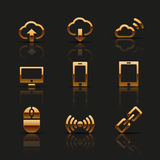 Golden web icons set. Vector illustration Stock Photography