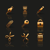 Golden web icons set Royalty Free Stock Photo