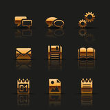 Golden web icons set Stock Photo