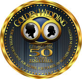 Golden Wedding Anniversary Badge Royalty Free Stock Photos
