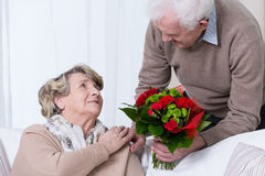Golden wedding anniversary. Happy senior couple having golden wedding anniversary Stock Photos