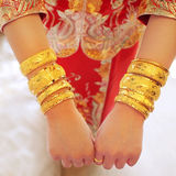 Golden wedding bangles Stock Images