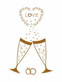 Golden wedding champagne glasses. Royalty Free Stock Photos