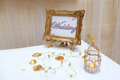 Golden wedding frame Stock Photos