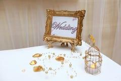Golden wedding frame Stock Photos