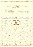 Golden wedding invitation   illustration. Golden wedding invitation  and  illustration Royalty Free Stock Image