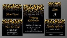 Golden wedding invitation set Stock Image