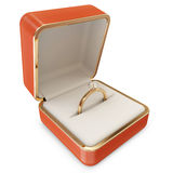 Golden Wedding Ring with Diamond in a Box Stock Photography