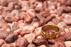 Golden wedding ring on the red stones Stock Photos