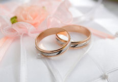 Golden wedding rings. Stock Photo