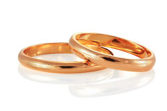 Golden wedding rings. Royalty Free Stock Photos