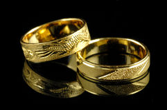 Golden wedding rings Royalty Free Stock Image