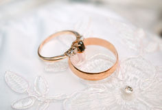 Golden wedding rings. Stock Photos