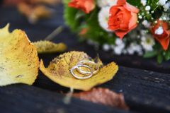 Golden wedding rings on a autumn leaf close-up. Golden wedding rings on a autumn leaf close-up with pink roses bouquet in the background Stock Photography