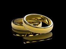 Golden wedding rings on black background and reflective table stock illustration
