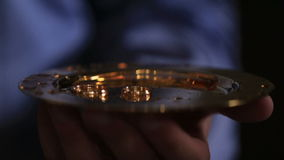 Golden wedding rings in church stock video footage