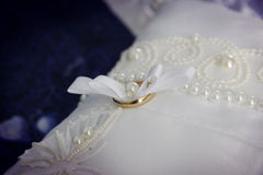 Golden wedding rings closeup Royalty Free Stock Photo
