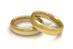 Golden wedding rings concept  3d illustration Royalty Free Stock Photography