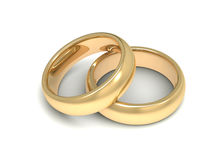 Golden wedding rings concept   3d illustration Royalty Free Stock Photos