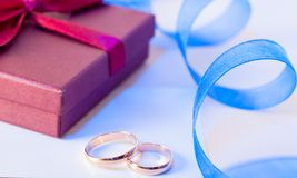 Golden wedding rings with decoration Stock Photo