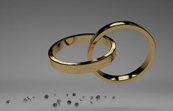 Golden wedding rings with diamond Royalty Free Stock Photo